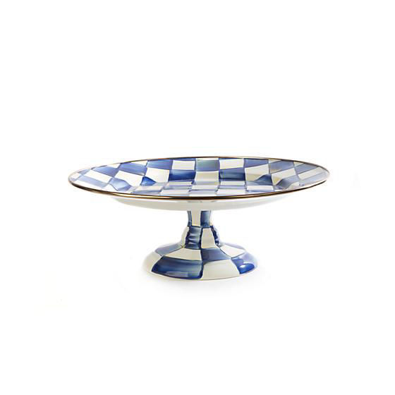 Royal Check Enamel Pedestal Platter - Small by MacKenzie-Childs