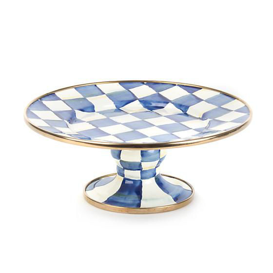 Royal Check Enamel Pedestal Platter - Mini by MacKenzie-Childs