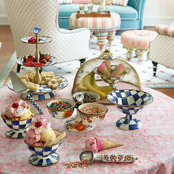 Royal Check Enamel Three Tier Sweet Stand by MacKenzie-Childs