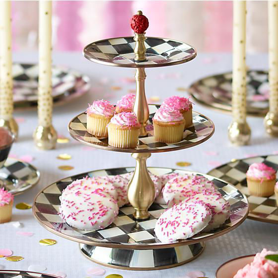 Courtly Check Enamel Three Tier Sweet Stand by MacKenzie-Childs