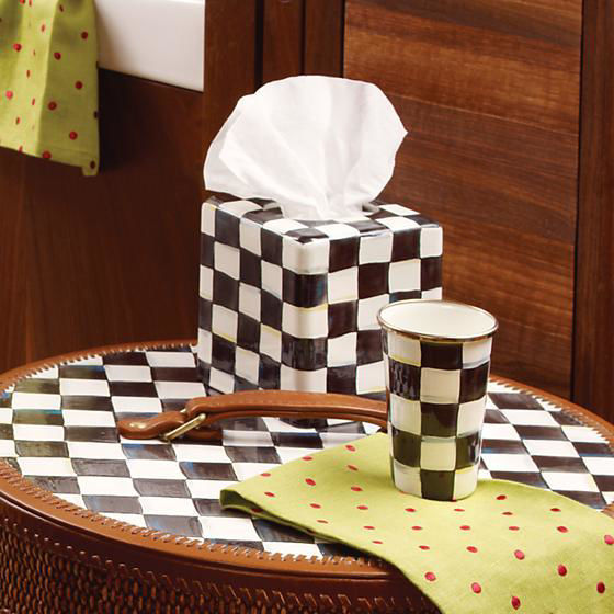 Courtly Check Enamel Boutique Tissue Box Cover by MacKenzie-Childs