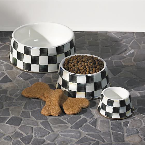 Courtly Check Enamel Pet Dish - Large by MacKenzie-Childs