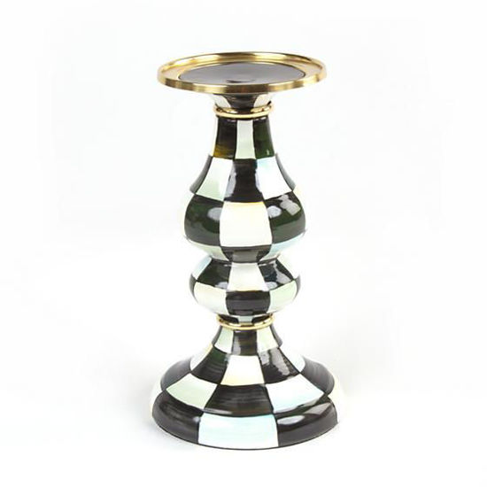 Courtly Check Enamel Pillar Candlestick - Medium by MacKenzie-Childs