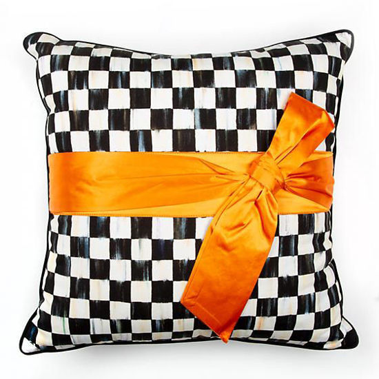 Courtly Check Sash Pillow - Orange by MacKenzie-Childs