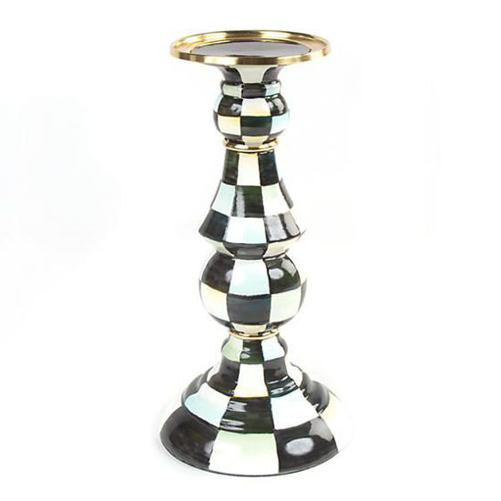 Courtly Check Enamel Pillar Candlestick - Large by MacKenzie-Childs