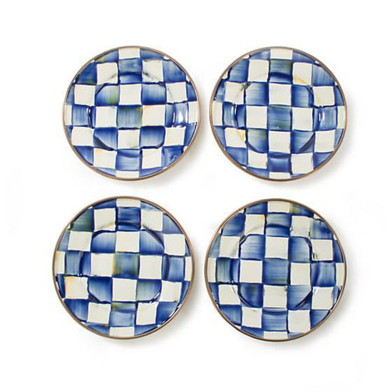 Royal Check Enamel Canape Plates - Set of 4 by MacKenzie-Childs