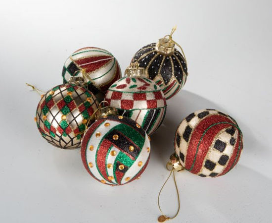 Jolly Glass Ball Ornaments - Set of 6 by MacKenzie-Childs