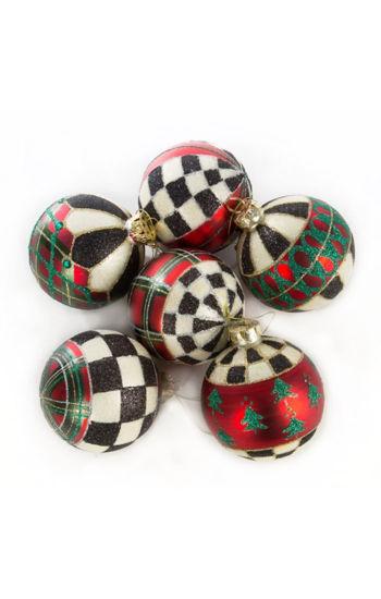Tartan Glass Ball Ornaments - Set of 6 by MacKenzie-Childs