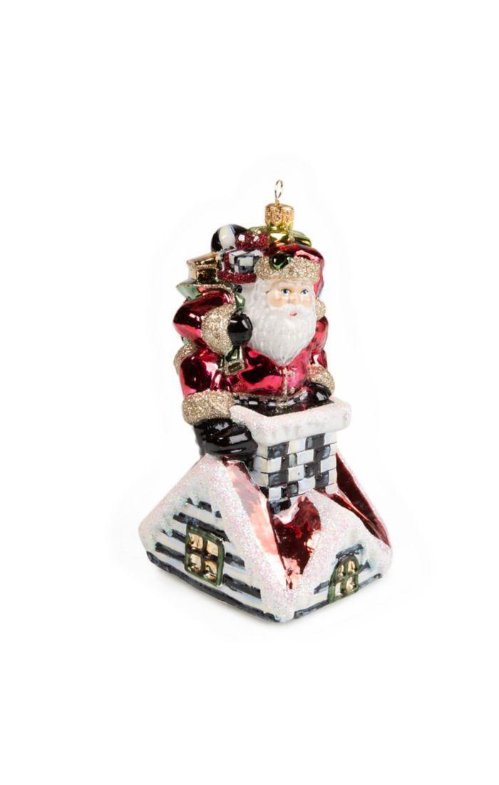 Santa's Here Glass Ornament by MacKenzie-Childs