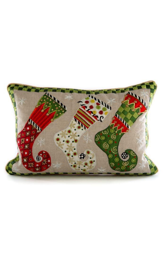 Elf Stockings Lumbar Pillow by MacKenzie-Childs