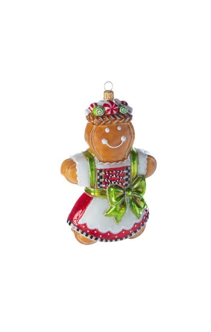 Glass Ornament - Candy Cottage Gingerbread Girl by MacKenzie-Childs