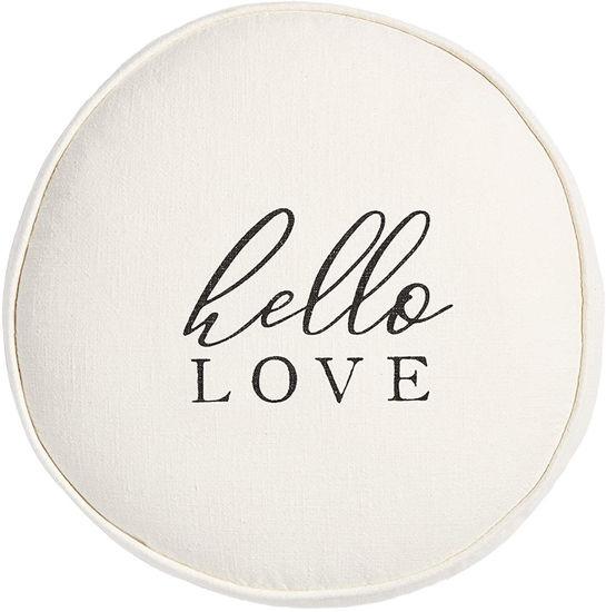 Round Hello Love Pillow by Mudpie
