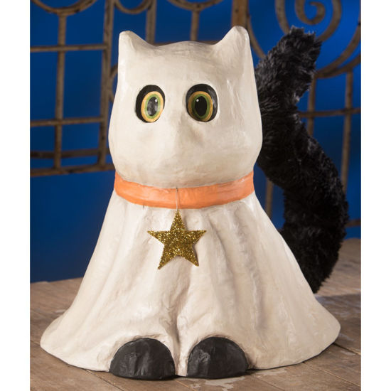 Casper Ghost Cat Large Paper Mache by Bethany Lowe Designs