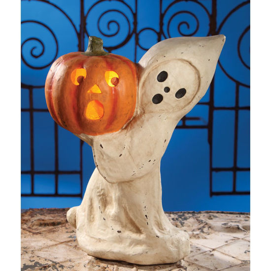 Ghost With Pumpkin Large Paper Mache by Bethany Lowe Designs