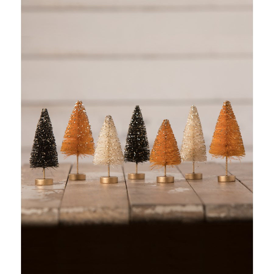 Mini Halloween Bottle Brush Trees with Gold Glitter Set by Bethany Lowe Designs