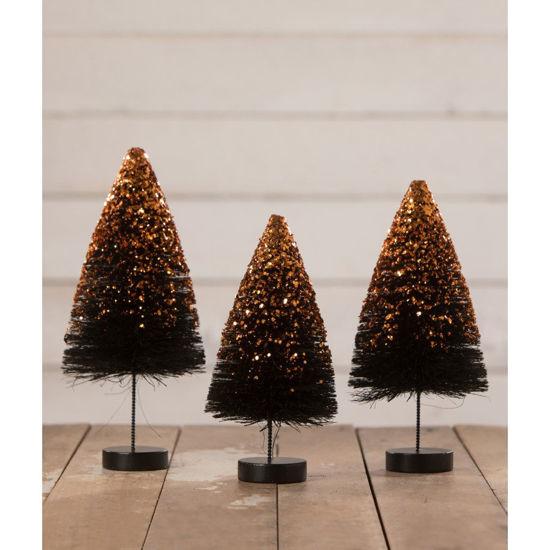 Black Bottle Brush Trees with Orange Glitter Set by Bethany Lowe Designs