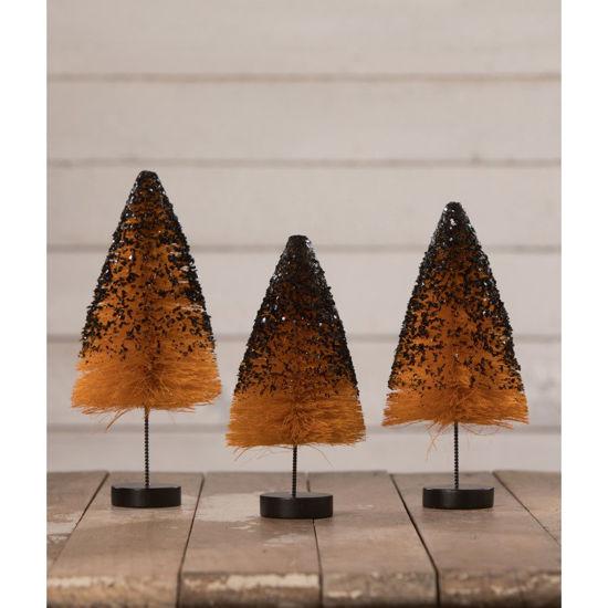 Orange Bottle Brush Trees with Black Glitter Set by Bethany Lowe Designs