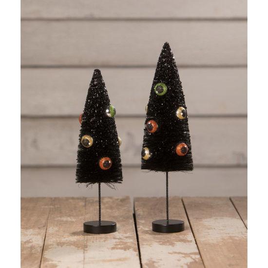 Eerie Eyeball Bottle Brush Trees Set by Bethany Lowe Designs