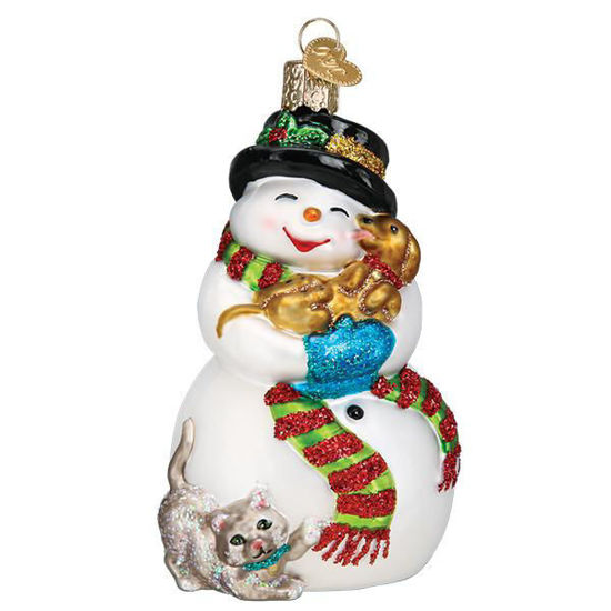 Snowman With Playful Pets by Old World Christmas