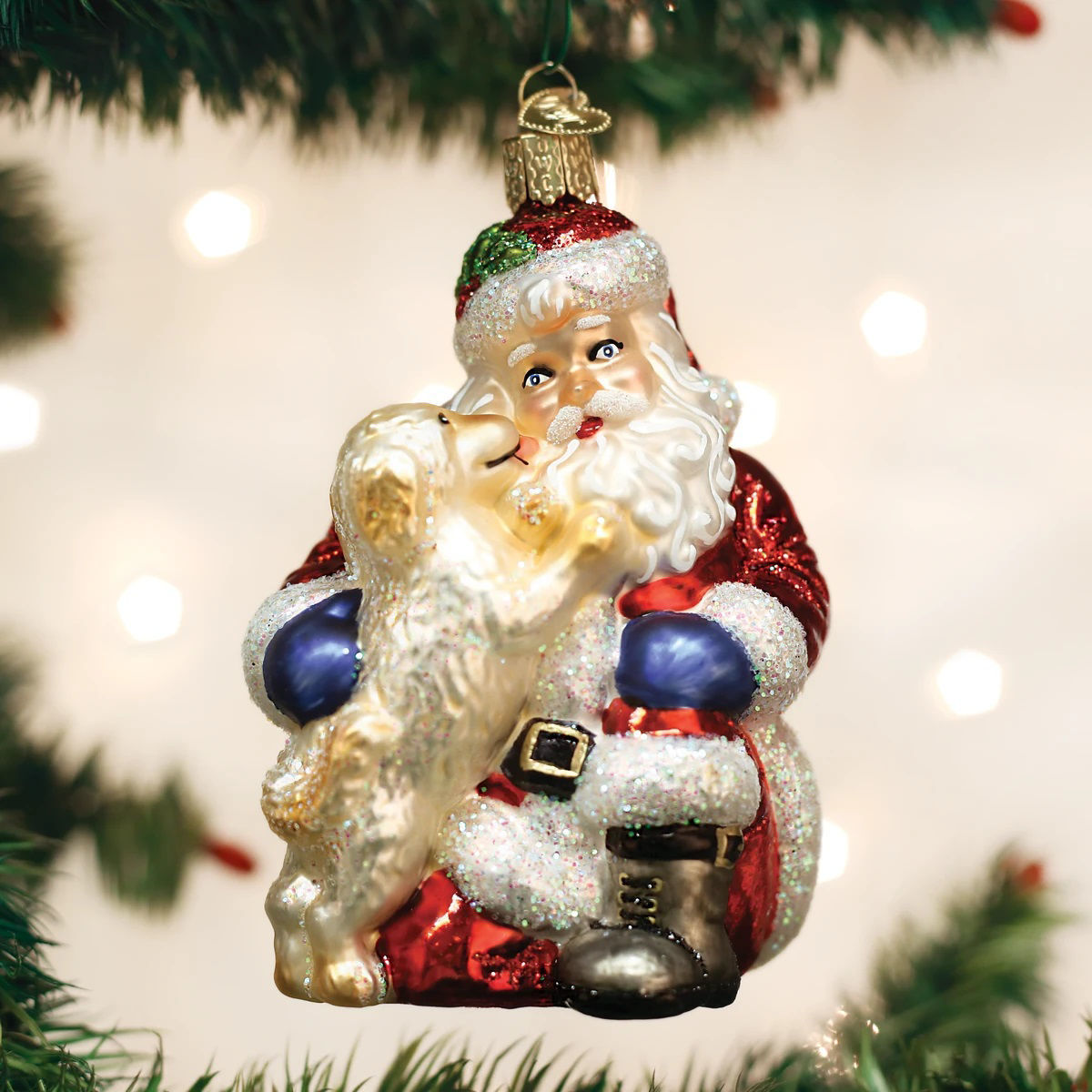 Santa's Puppy Love Ornament by Old World Christmas