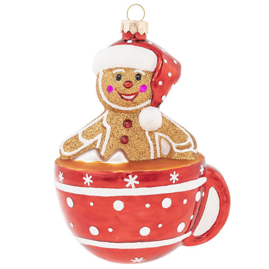 Gingerbread Man in Hot Chocolate Ornament by Kat + Annie