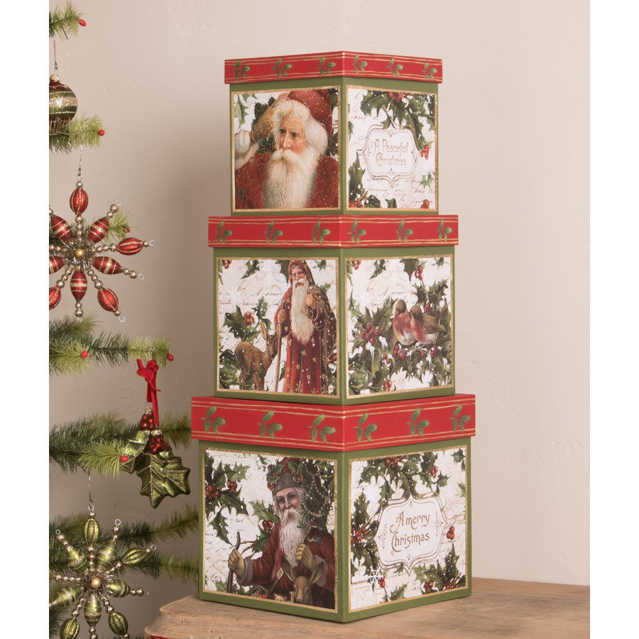 Holly Boxes Set by Bethany Lowe