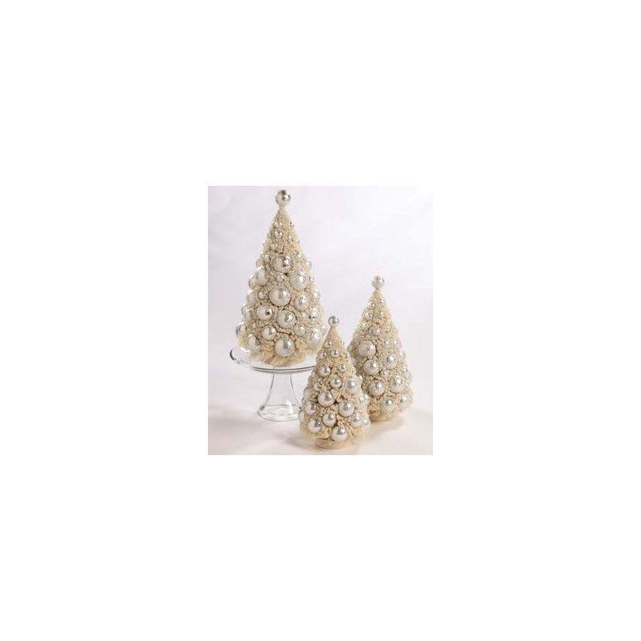 Ivory Platinum Bottle Brush Tree Set by Bethany Lowe