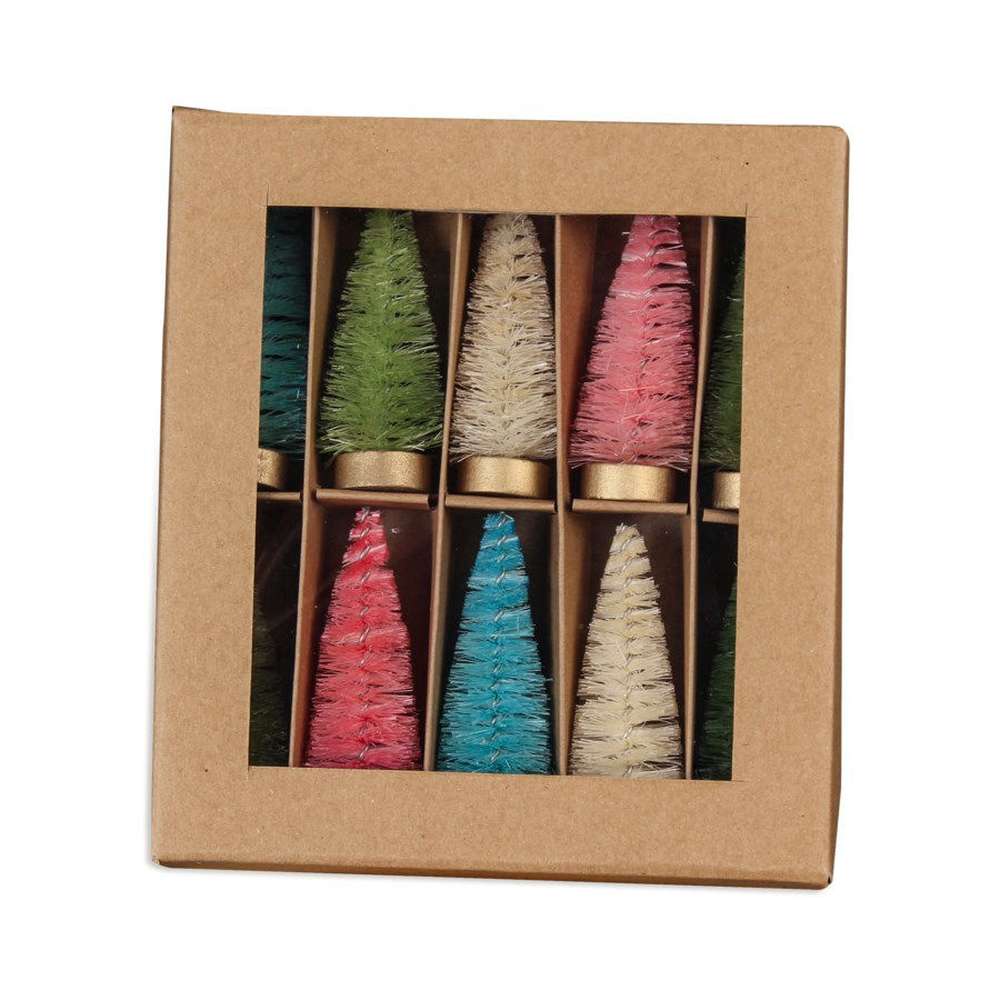 Pastel Bottle Brush Trees in Box Set by Bethany Lowe