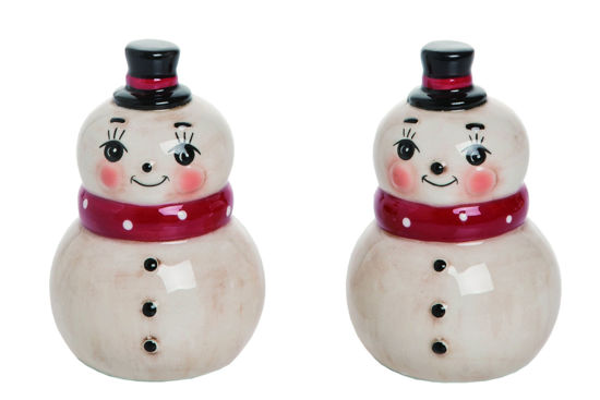 Nostalgic Snowman Salt + Pepper  Shakers by Transpac