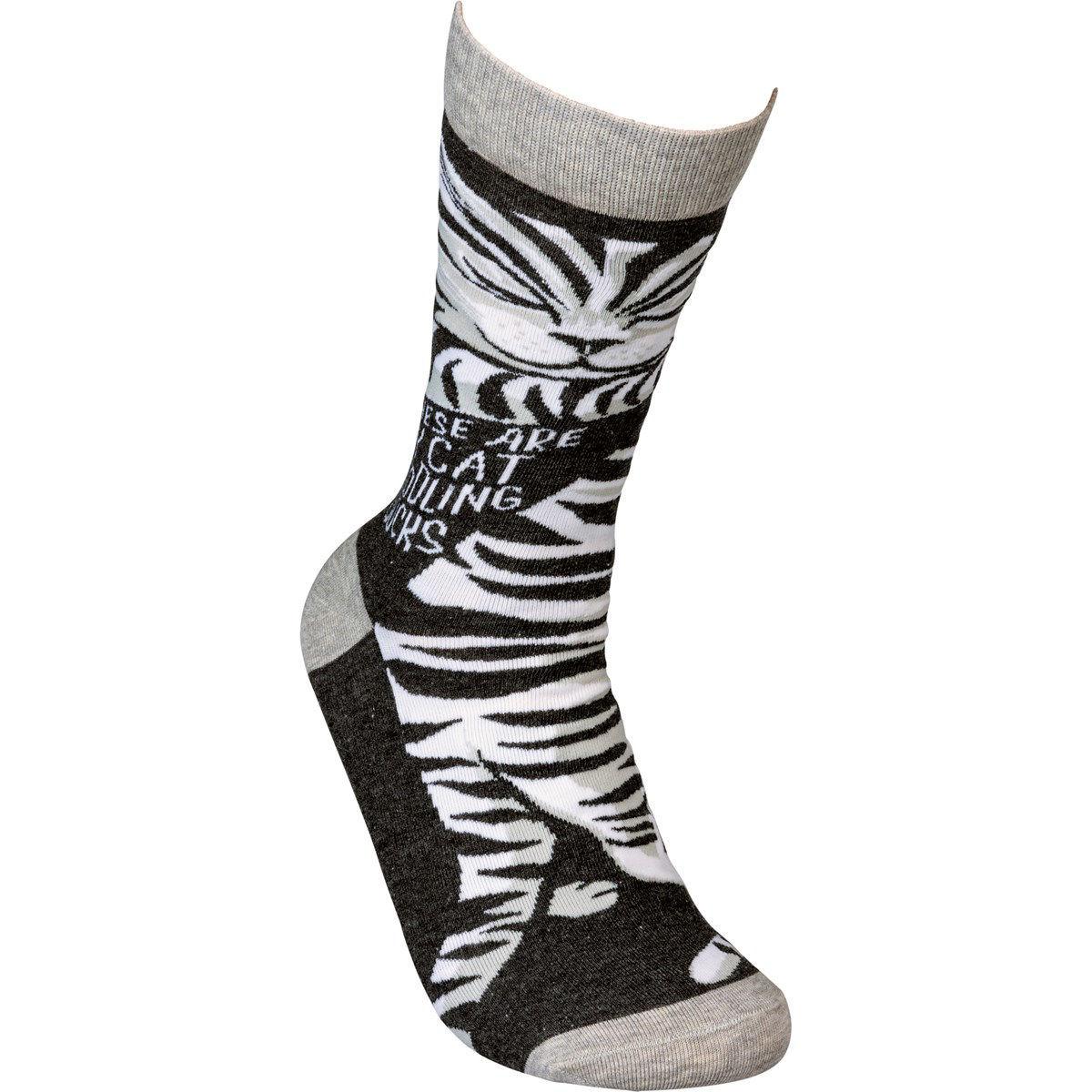 Cat Cuddling Socks by Primitives by Kathy