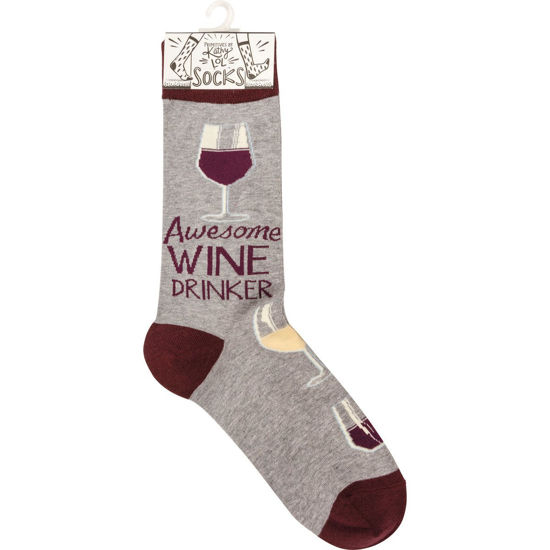 Awesome Wine Drinker Socks by Primitives by Kathy
