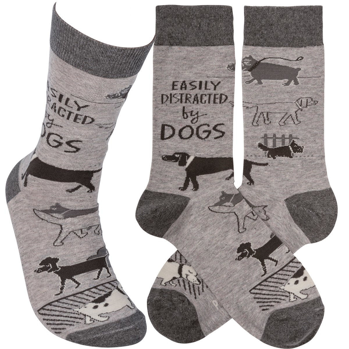 Easily Distracted by Dogs Socks by Primitives by Kathy