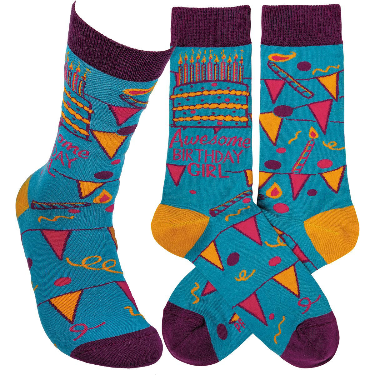 Awesome Birthday Girl Socks by Primitives by Kathy