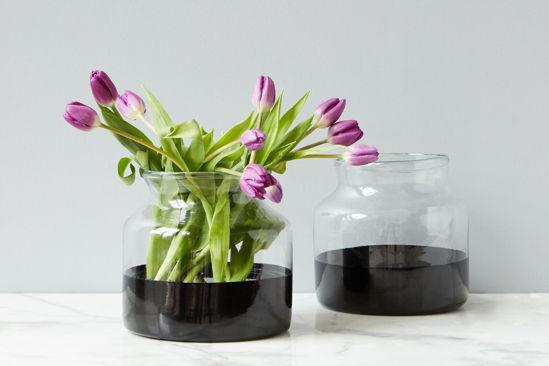 Black Colorblock Flower Vase by etúHOME