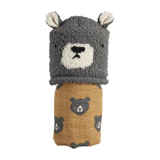 Bear Swaddle & Hat Set by Mudpie