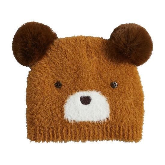 Brown Fuzzy Bear Knit Hat by Mudpie