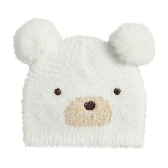 Ivory Fuzzy Bear Knit Hat by Mudpie