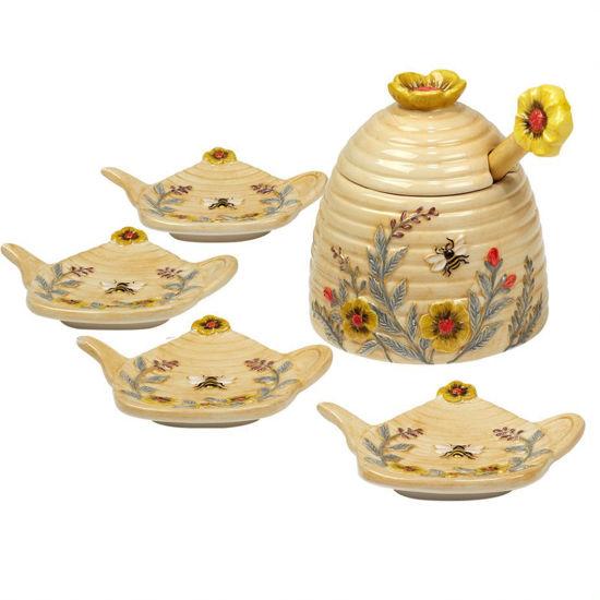 Sweet as a Bee 3-D Honey Pot & Tea Bag Holder Set by Certified International
