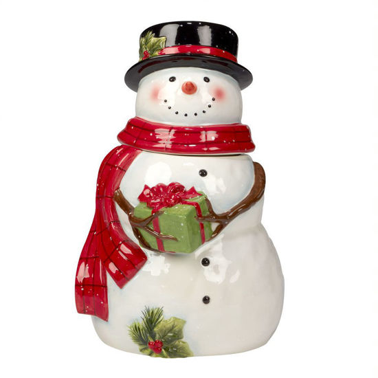Snowmans's Farmhouse 3-D Snowman Cookie Jar by Certified International