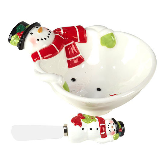 Holiday Magic Snowman 3-D Dip Bowl & Spreader by Certified International