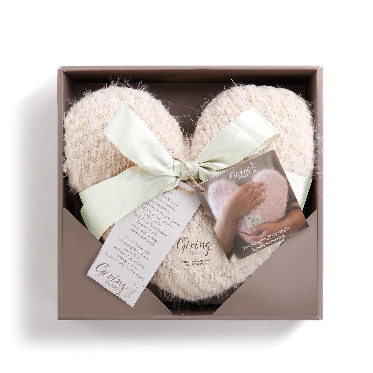 Cream Giving Heart Pillow by Demdaco