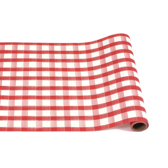 Red Painted Check Runner by Hester & Cook