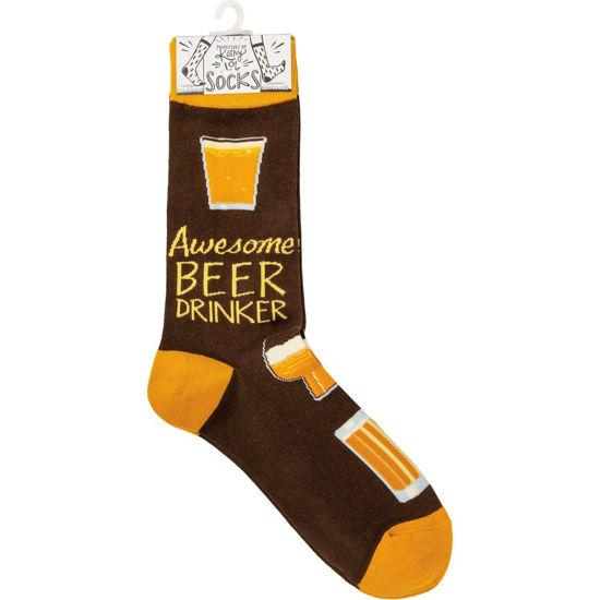 Awesome Beer Drinker Socks by Primitives by Kathy