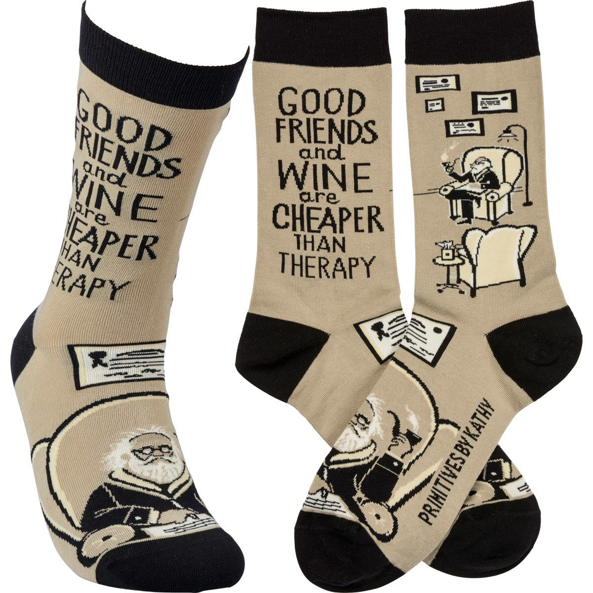 Friends & Wine Cheaper Than Therapy Socks by Primitives by Kathy
