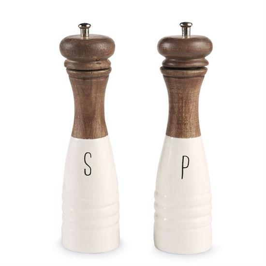 Wood & Enamel Salt & Pepper Mill Set by Mudpie