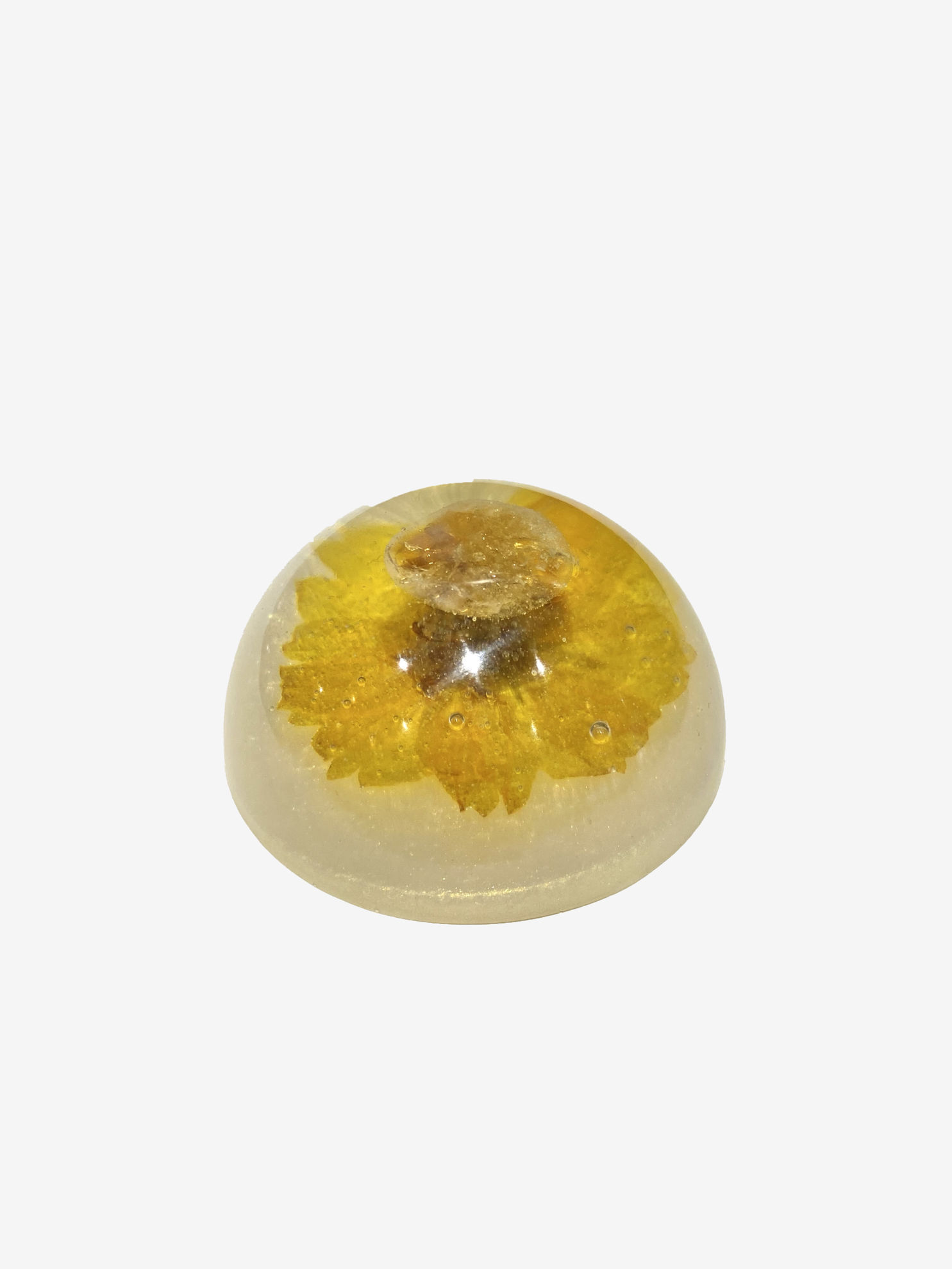 Gold Gem & Yellow Flower Paperweight by Spirited Pyramids