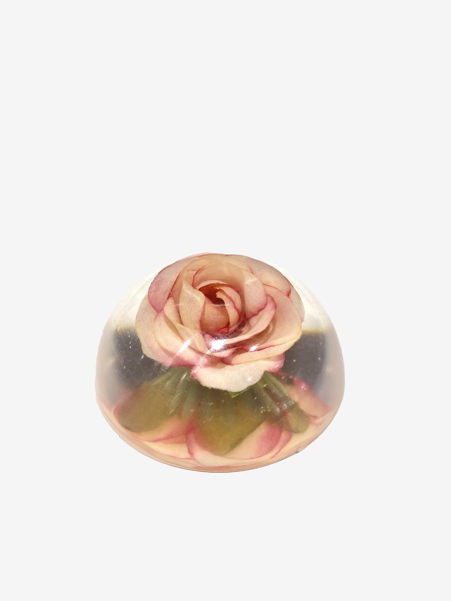 Dark Pink Edge Rose Paperweight by Spirited Pyramids