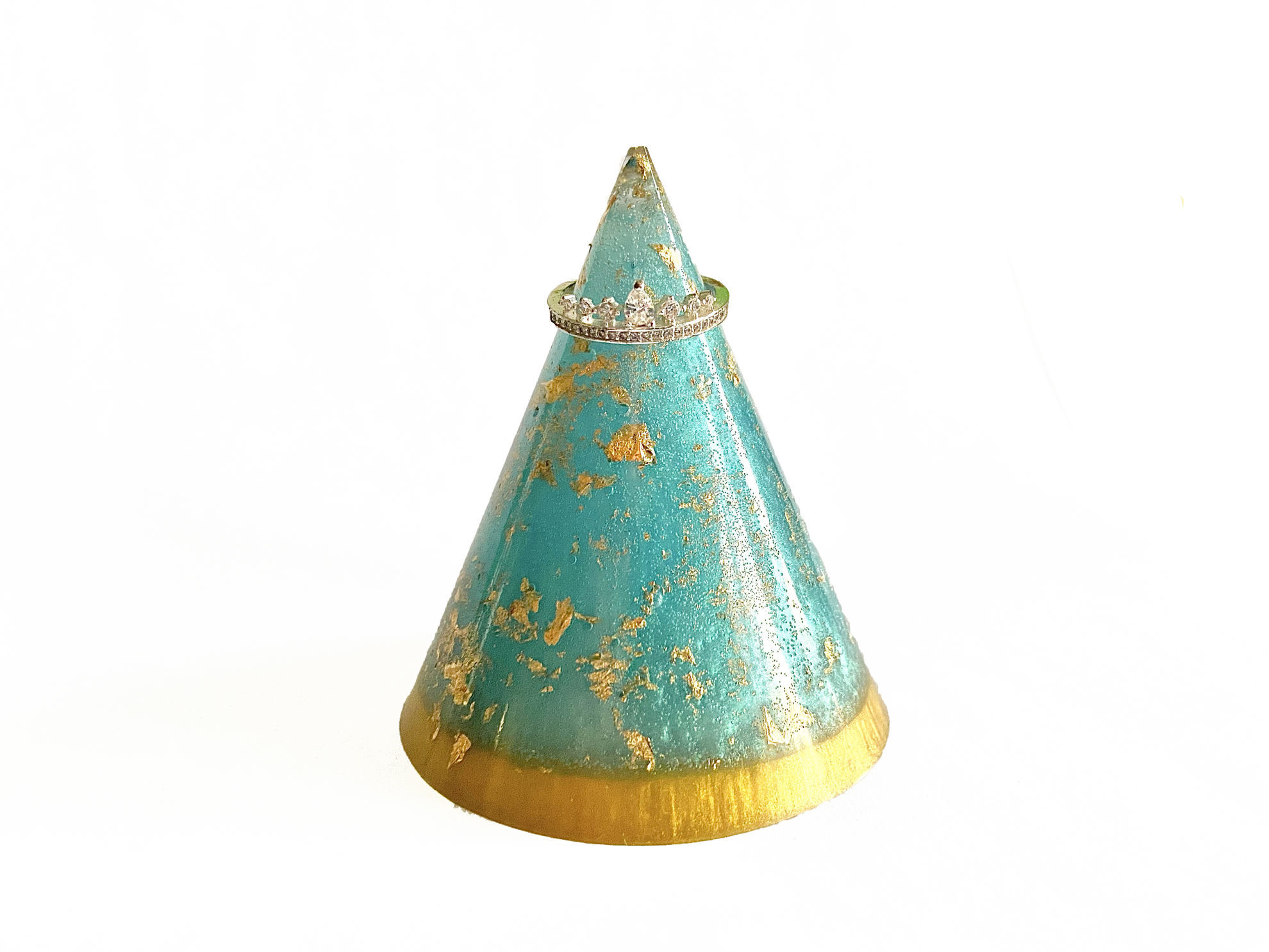 Turquoise & Gold Ring Holder by Spirited Pyramids