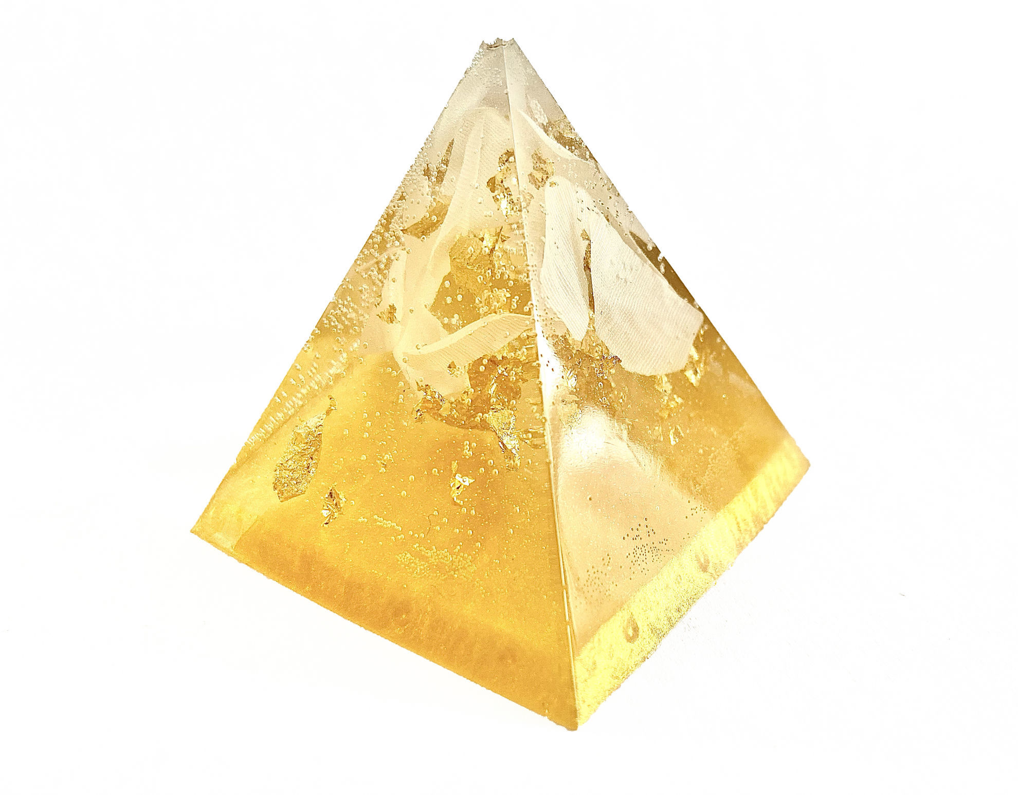 White & Gold Extra Small Pyramid by Spirited Pyramids
