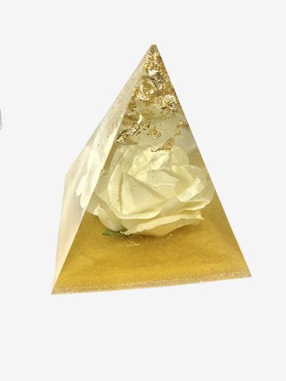 White Rose & Gold Medium Pyramid by Spirited Pyramids